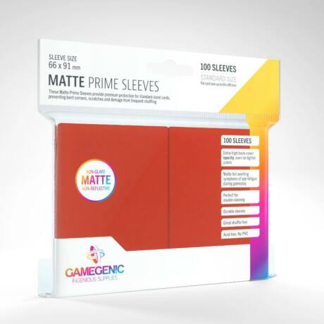 GameGenic Matte Prime Sleeves, piros - 66x91mm (100 db/csomag)